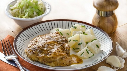 Honey Mustard Pork Recipe with Warm Potato Salad