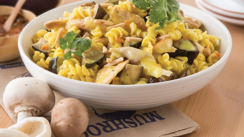 Chicken Curry Recipe with Mushrooms, Eggplant & Almonds