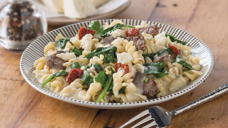 Carbonara Recipe with Lamb, Spinach & Sun Dried Tomatoes.