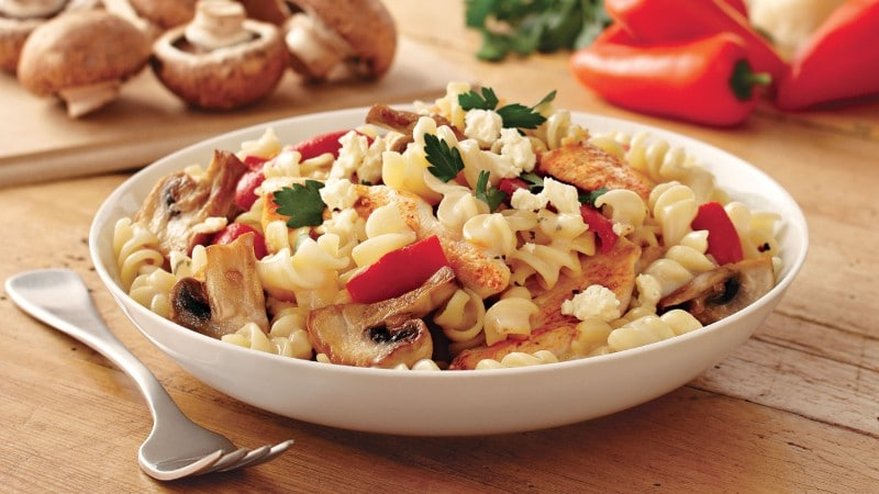 Pasta with Mushrooms & Roasted Capsicum Recipe.