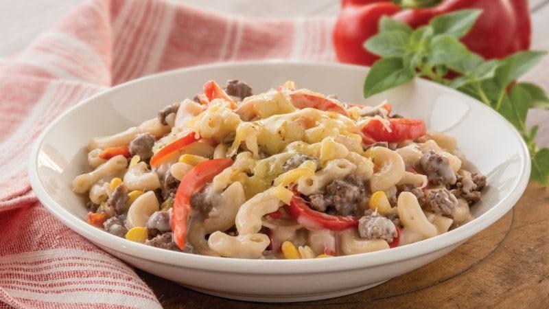 Beef Macaroni Recipe with Corn & Capsicum.